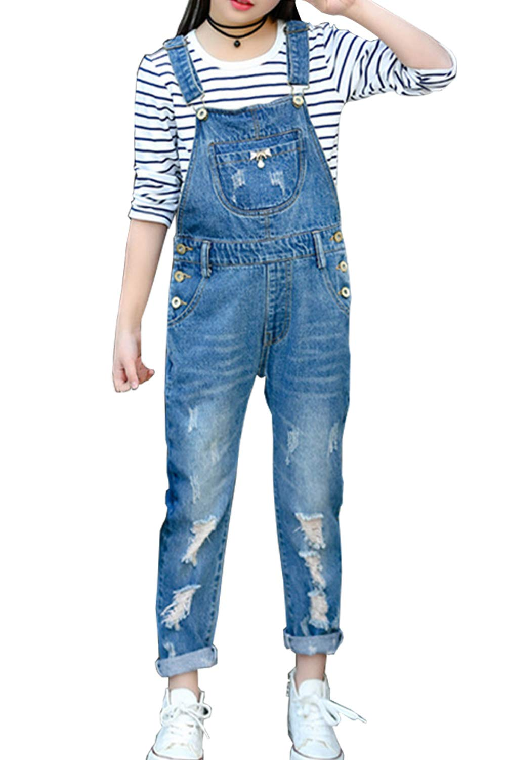LAVIQK 3-14Years Kids Big Girls Jumpsuits & Rompers Distressed Denim Overalls Blue Long Jeans Strecthy Ripped Jeans by LAVIQK