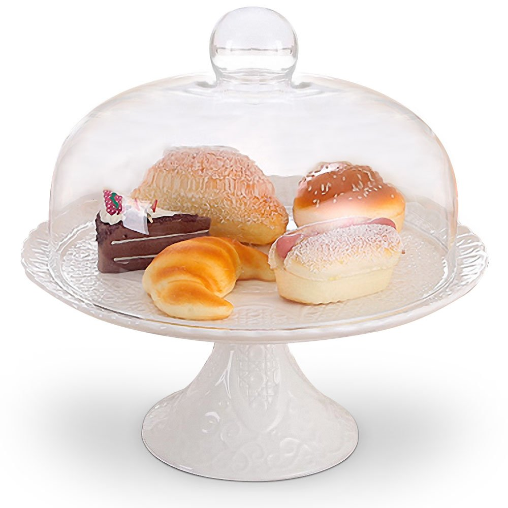 Magtrem Amazing Fine Porcelain Round Cake Stand Multifunctional Cake and Serving Stand with glass lid 11.8 Inch
