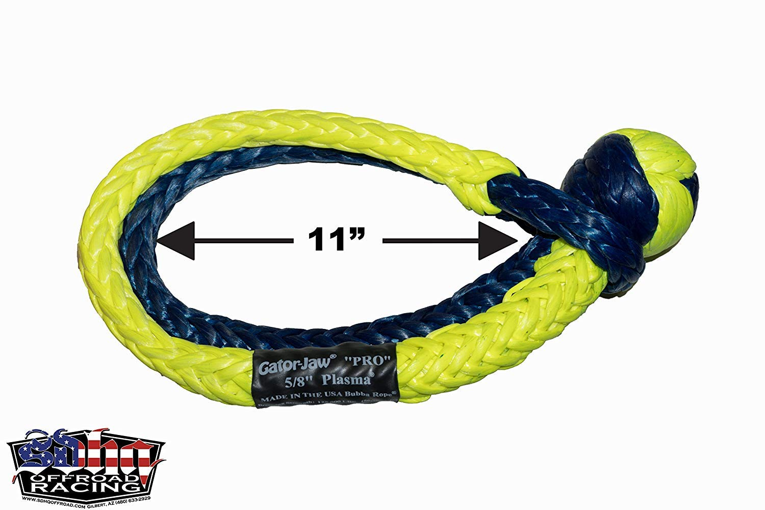 Bubba Rope Gator-Jaw Pro Synthetic Soft Shackle 125,000lb Breaking Strength Mega Yellow /& Blue