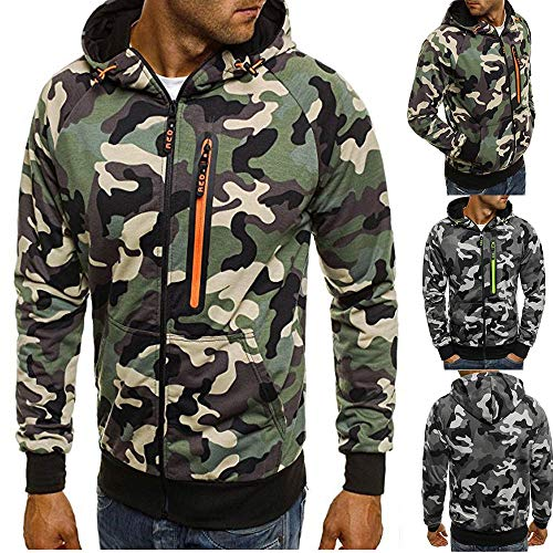 POHOK Clearance!Mens Long Sleeve Hooded Blouse Camouflage Zipper Pullover Sweatshirt Tops -