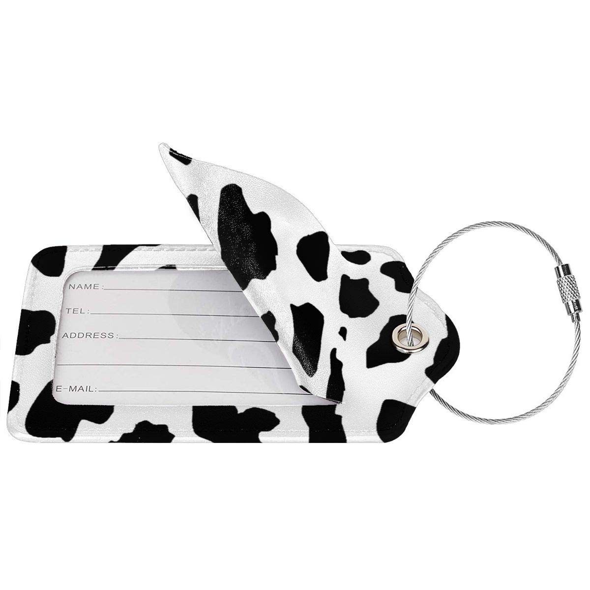 Black And White Cow Pattern Leather Luggage Tags Personalized Travel Accessories With Adjustable Strap