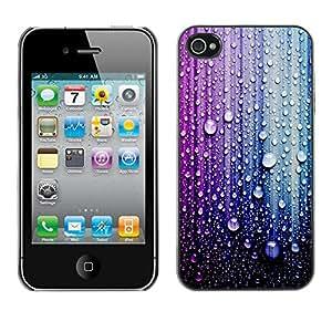 X-ray Impreso colorido protector duro espalda Funda piel de Shell para Apple iPhone 4 / iPhone 4S / 4S - Raindrop Purple Blue Droplet