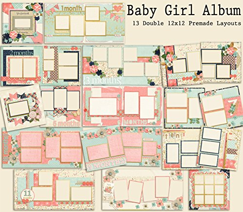Baby Girl Album Scrapbook Set - 13 Double Page (Baby Girl 12x12 Album)
