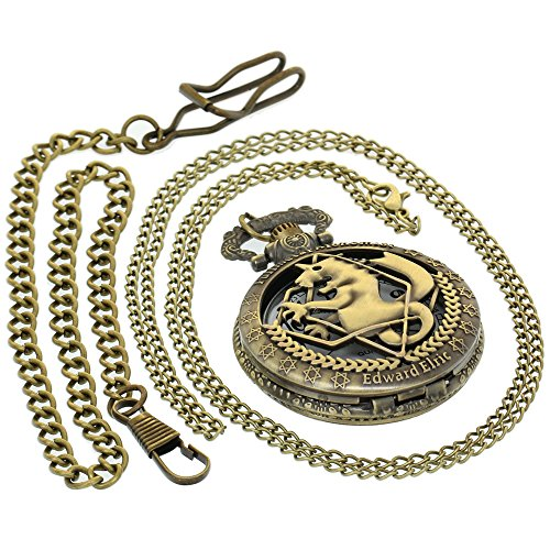 Retro Bronze Pocket Watch Men Fullmetal Alchemist Edward Elric Design Quartz Pocket Watch with 1 PC Necklace Chain 1 PC Clip Key Rib Chain Japan Quartz Analog Fob Watches Gifts Clock