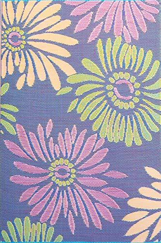 Mad Mats® Daisy Indoor/Outdoor Floor Mat, 5 by 8-Feet, Violet (Large Rugs Ribbon)