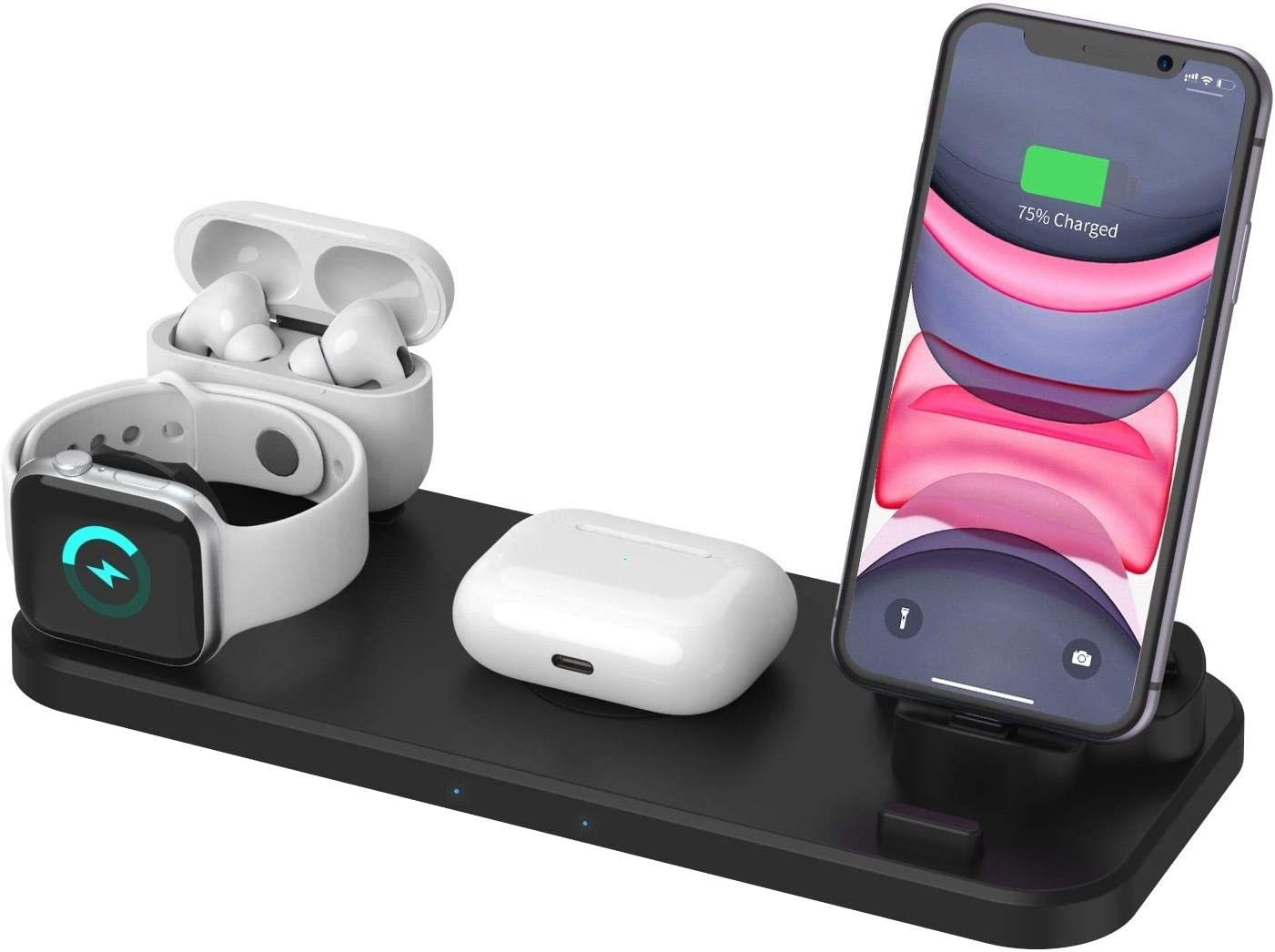 Wireless Charger 6 in 1 Compatible with Apple Watch & AirPods 2 & Pencil Charging Dock Station, iWatch Series 5/4/3/2/1, iPhone 11/11 Pro Max/XR/XS Max/Xs Nightstand Mode Fast QC 3.0 Adapter Included