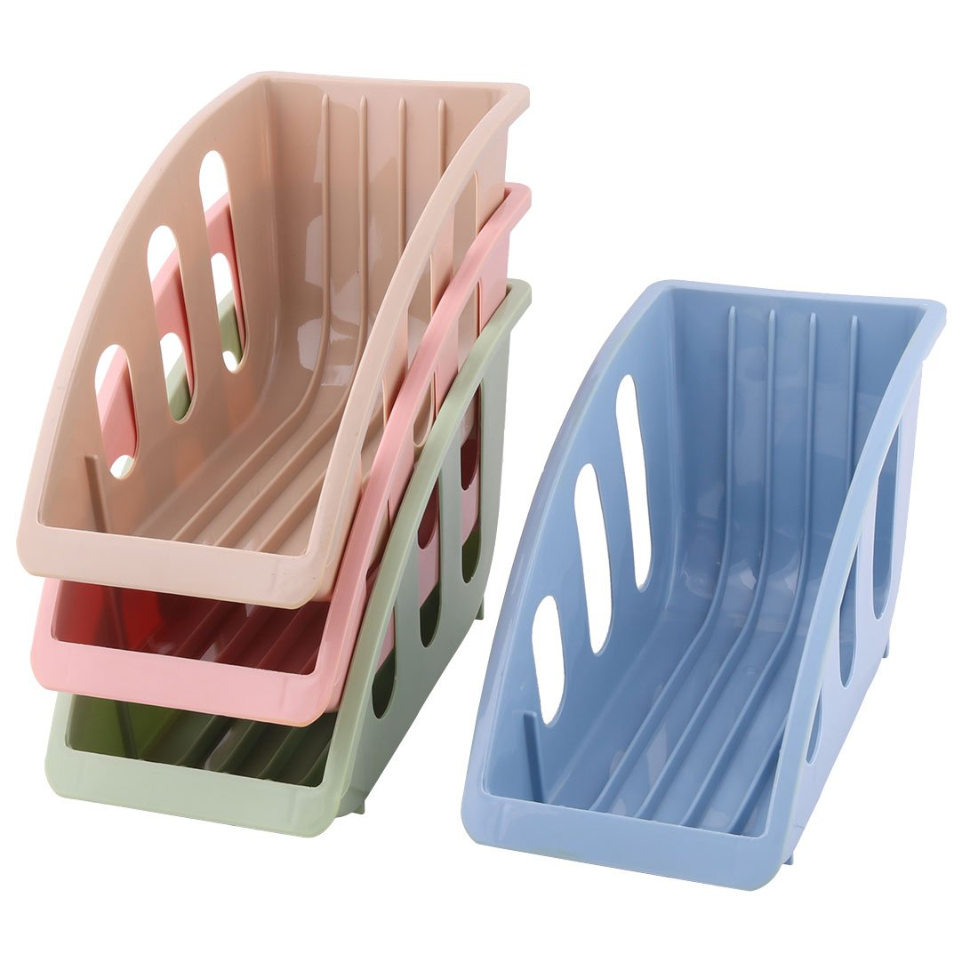 uxcell Plastic Home Kitchen Dish Drainer Multifunction Plate Storage Organizer Rack 4pcs