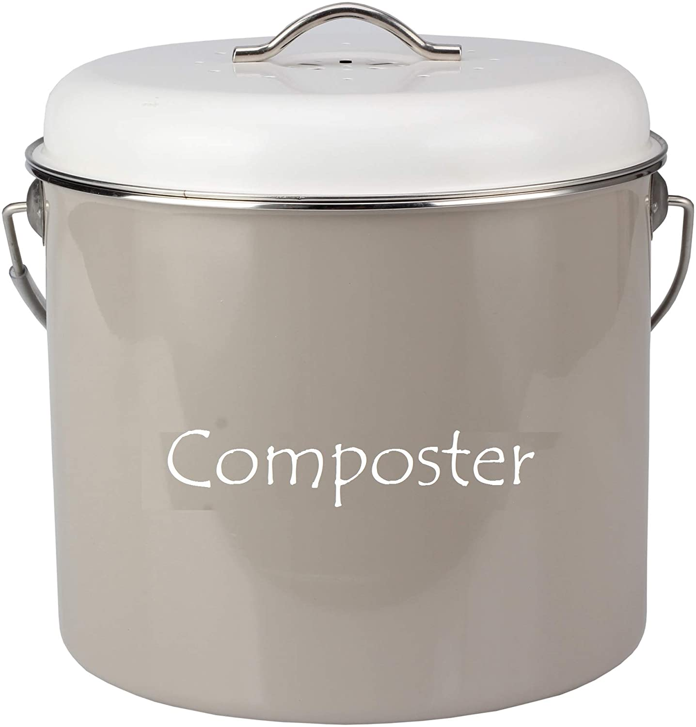 HeAndy Compost Bucket for Kitchen Food Scraps - Cream Countertop Compost Bin with Lid & 4 Filters Locks Odors in - Vintage Metal Composters Bins Kitchen - 1.3 gal