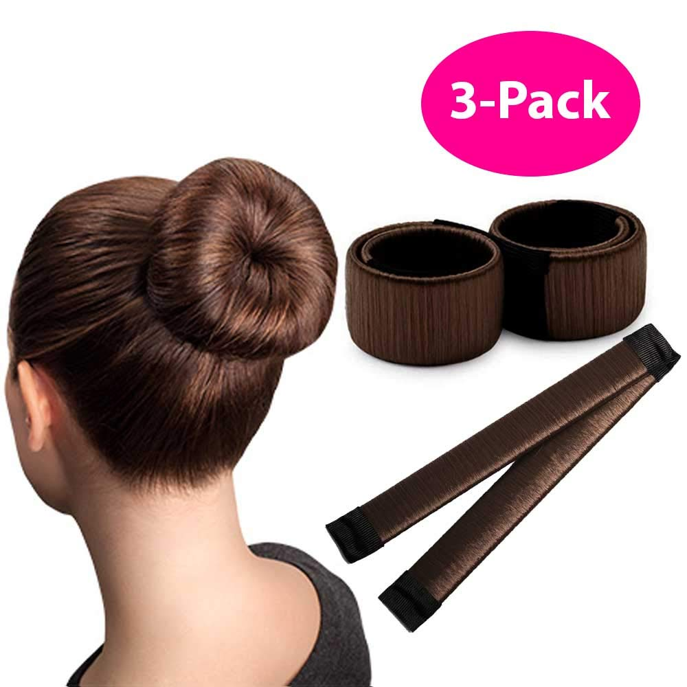 Brown Magic Bun Maker / 3 PACK/Perfect Hair Bun Making Tool/Donut Bun DIY Hair Styling/Hair Bun Shaper/Ballet Hair Bun by HAWWWY