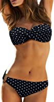 Bettydom Cotton Bikini Set Classical Strapless Two Pieces Swimsuit Swimwear for Woman