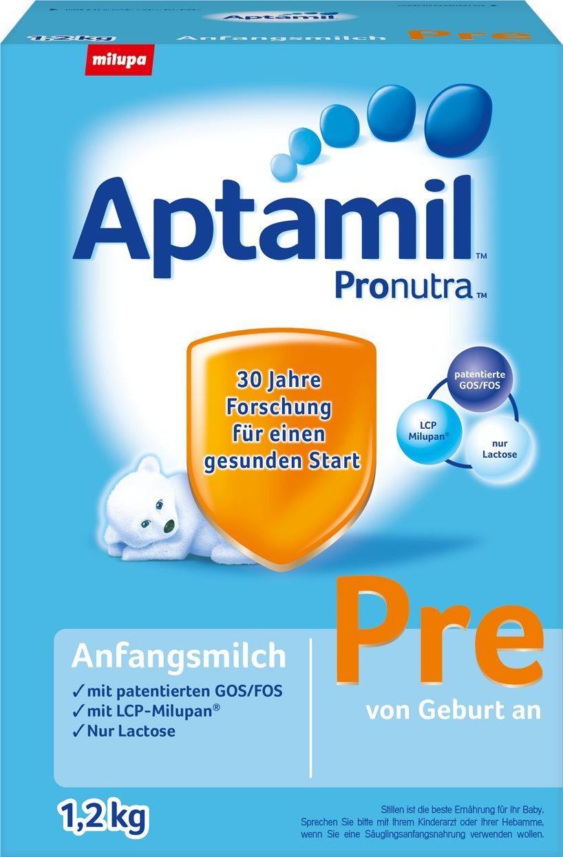 Aptamil Pronutra Pre Anfangsmilch, von Geburt an, 4er Pack (4 x 800 g) 341029 Fläschchen LCP Pre-Milch