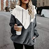TOPBIGGER Women's Oversized Sherpa Pullover Hoodie