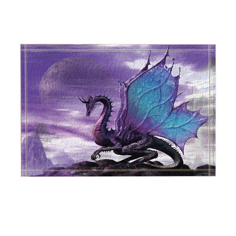 NYMB Medieval Fantasy Theme Purple Dragon Bath Rugs, Non-Slip Doormat Floor Entryways Indoor Front Door Mat, Kids Bath Mat, 15.7x23.6in, Bathroom Accessories (Bath Rugs)