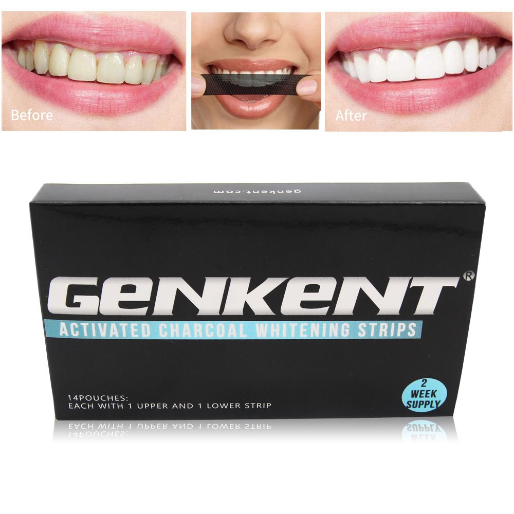 Amazon Com Genkent Bamboo Charcoal Teeth Whitening Strips Paper Shade Guide Makes Bright Smile14 Pouches 28 Strips