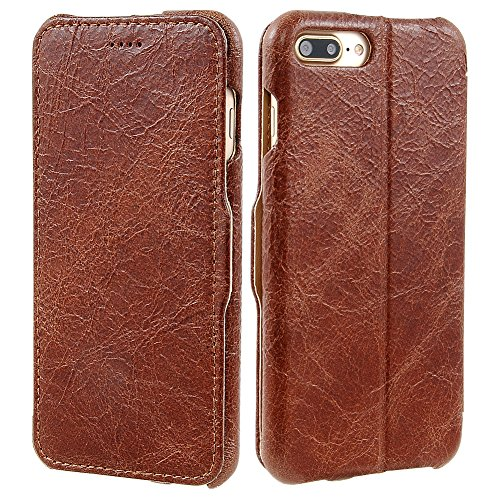 iPhone 7 Plus Case, iBazal Stand Leather Case, Handmade Genuine Leather Flip Case with Magnetic Closure for iPhone 7 Plus 5.5inch - Vintage Brown