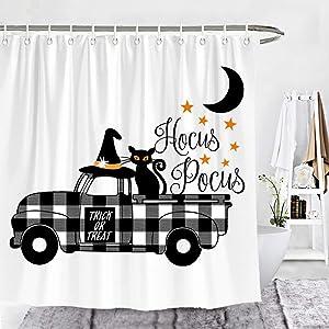 Wencal Halloween Hocus Pocus Buffalo Check Plaid Truck Shower Curtain Cat Rustic Farmhouse Bathroom Decor 72 x 72 Inches