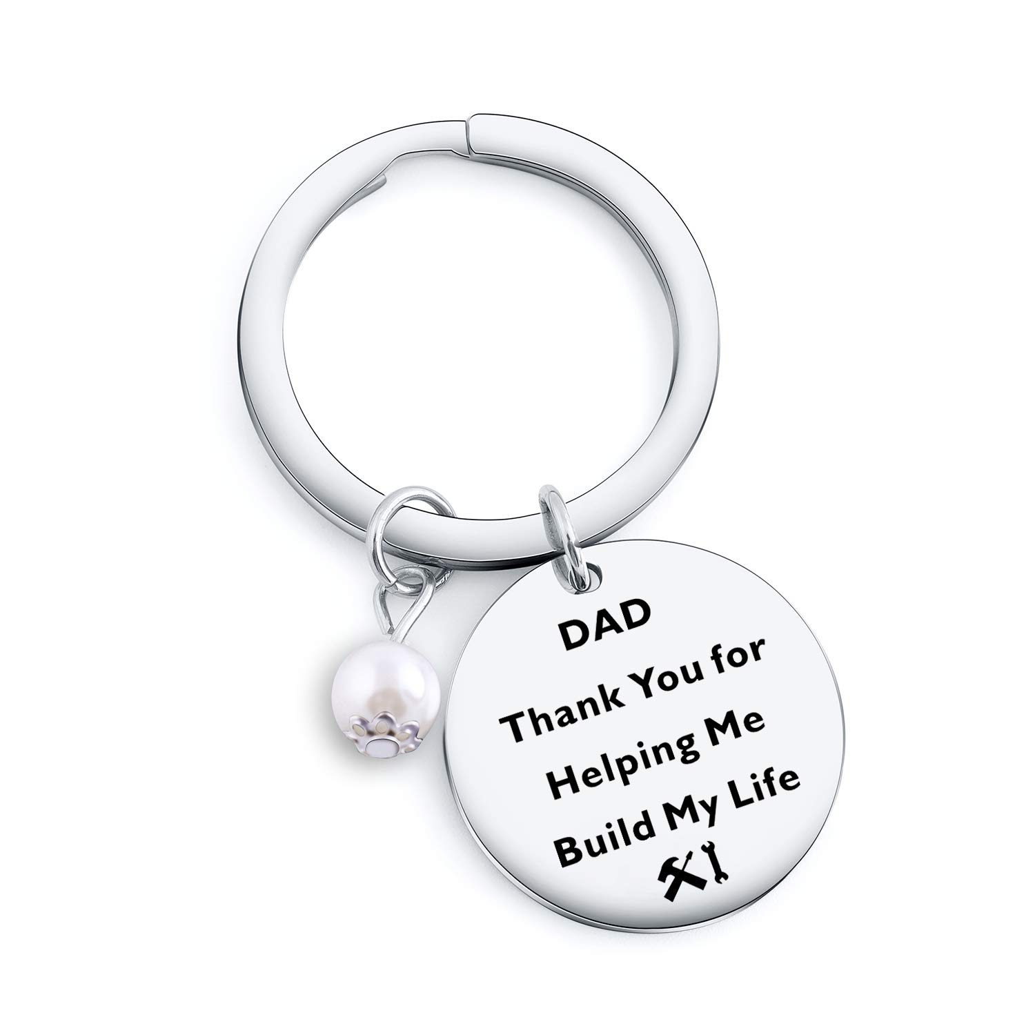 Dad Keychain Gifts for Dad Mom Grandpa Uncle Teachers Thank You for Helping Me Build My Life Keychain