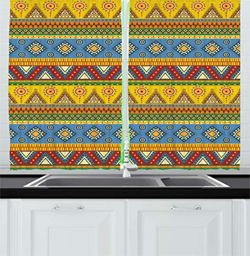 Ambesonne Aztec Kitchen Curtains, Traditional Classic Tribal Style Folk Motif Sun Mexican Culture Image, Window Drapes 2 Panel Set for Kitchen Cafe Decor, 55
