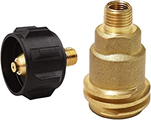 Hooshing QCC1 Acme Nut Propane Gas Fitting with 1/4 Inch Male Pipe Thread and QCC1 Propane Adapter Gas Regulator Valve Fitting Soild Brass