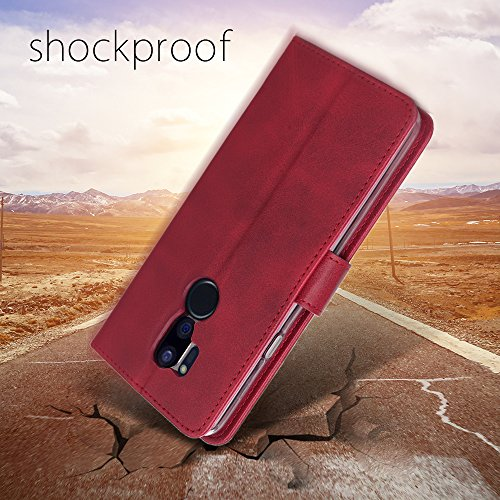 LG G7 Case/LG G7 ThinQ Case, Cress [Slim Fit] [Stand Feature] Flip Leather Wallet Case With Card Slot Magnetic Closure Bumper TPU For LG G7 (Red) by Cresee (Image #6)