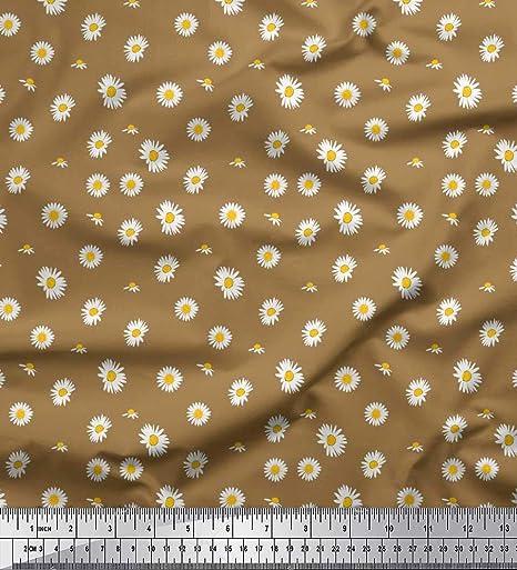 Soimoi Marrón popelina de algodon Tela Margarita tela de camisa tela artesanal impresa por metro 42 Pulgadas de ancho: Amazon.es: Hogar