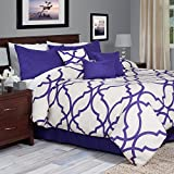 Lavish Home 7-Piece Oversized Trellis Comforter Set, King, Purple