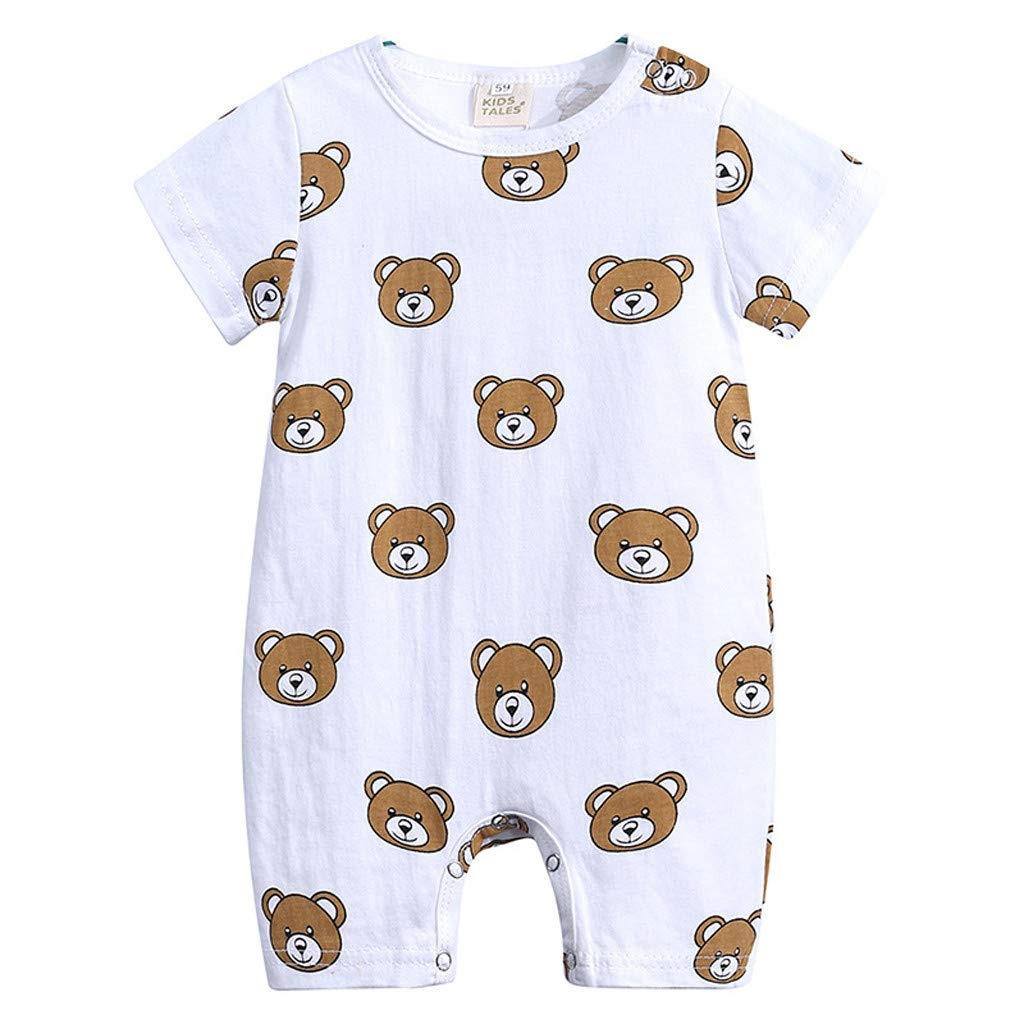 Tantisy ♣↭♣ Baby Clothes Toddler Baby Girls Boys 3M-18M Short Sleeve Cartoon Print Jumpsuit Romper Soft Comfortable Brown