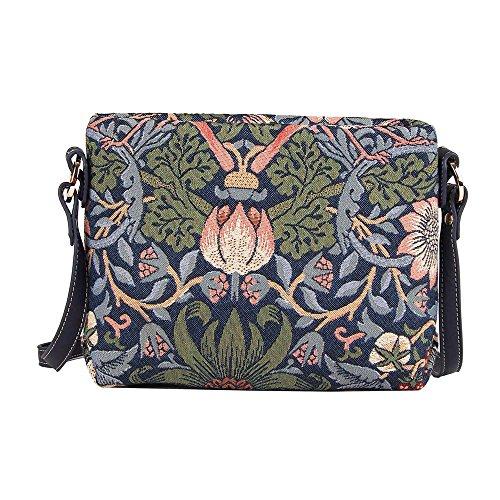 Floral de de Ladrón en Signare azul messenger bolso de para fresas moda bandolera de hombro Bolso mujer tapiz mano bolso fq5AZZ