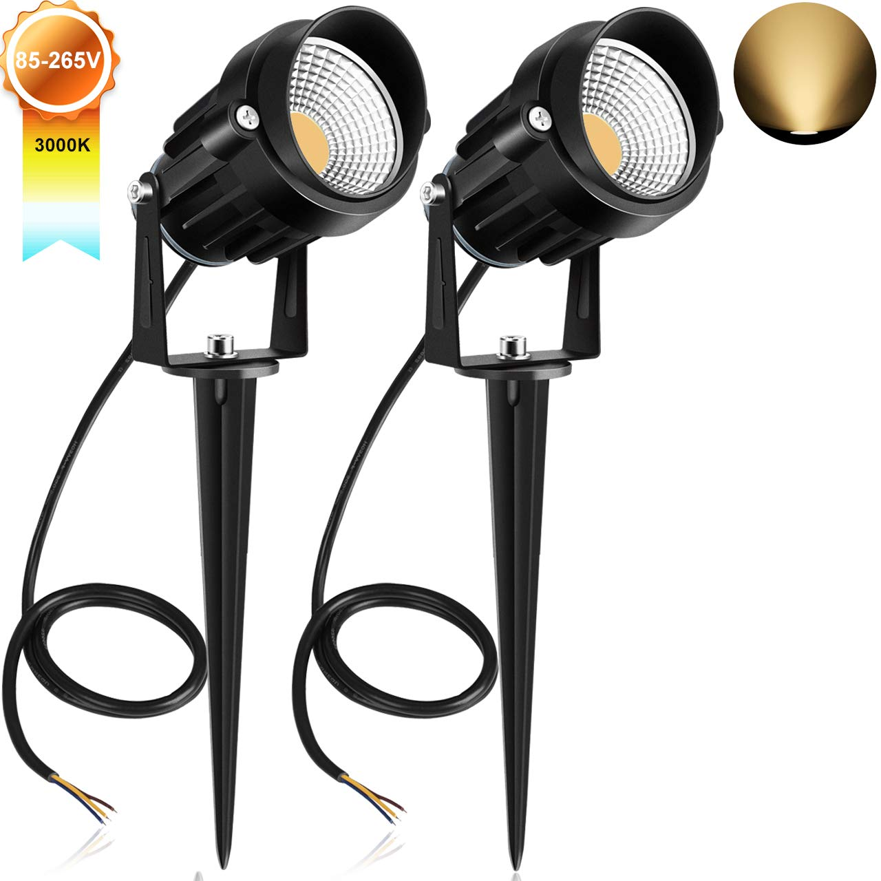 CLY 7W Led Spotlight, 4 LED Landscape Lights 800 Lumen Super Bright IP66 Waterproof Wall Lights Security Lighting for Garden, Lawn, Patio and Yard