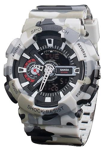 Niños reloj analógico Digital cuarzo electrónico reloj deportivo cronógrafo automático relojes de pulsera color gris: Amazon.es: Relojes