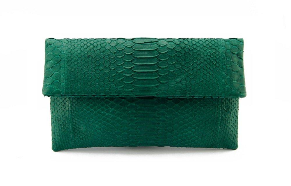 Genuine Moss Green Python Leather Classic Foldover Clutch Bag
