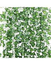 U'Artlines 24 st (210 cm vardera) falska murgröna konstgjorda murgröna blad grönska girlanger hängande för bröllopsfest trädgård