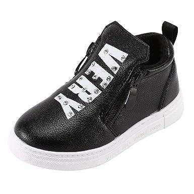 YanHoo Zapatos para niños Diamantes Infantiles con Doble Cremallera más Botas de Terciopelo cálidas Botas Invierno Cálido Cristal Letra Sport Botas ...