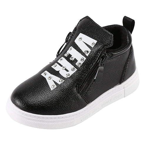 Botas Niña Invierno K-youth Botines con Cremallera Zapatos con Forro Caliente Zapatillas Deporte Antideslizantes