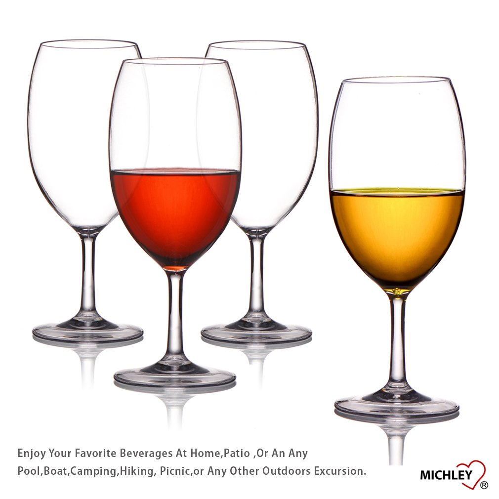 MICHLEY Unbreakable Wine Glasses, 100% Tritan Plastic Shatterproof Wine Glasses, BPA-free, Dishwasher-safe 20 oz, Set of 4 by MICHLEY (Image #9)
