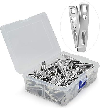 VIPbuy - 60 pinzas de acero inoxidable para ropa de lavandería de metal, pinzas con caja de almacenamiento para ropa, calcetines, sellado de alimentos, fotos: Amazon.es: Hogar
