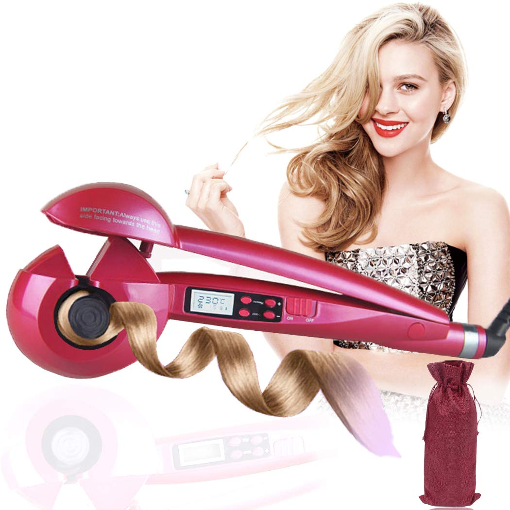 Magic Automatic Hair Curler Curling, Ceramic Iron Wand Roller Wave Machine Hair Curl Secret Styler LCD Digital Display with Time/Temperature/Curling Direction Setting (Rose red) MUMU