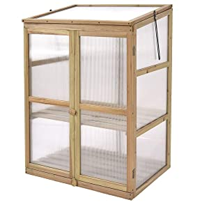 "Giantex Garden Portable Wooden Cold Frame Greenhouse Raised Flower Planter Protection (30.0""X22.4""X42.9"")"