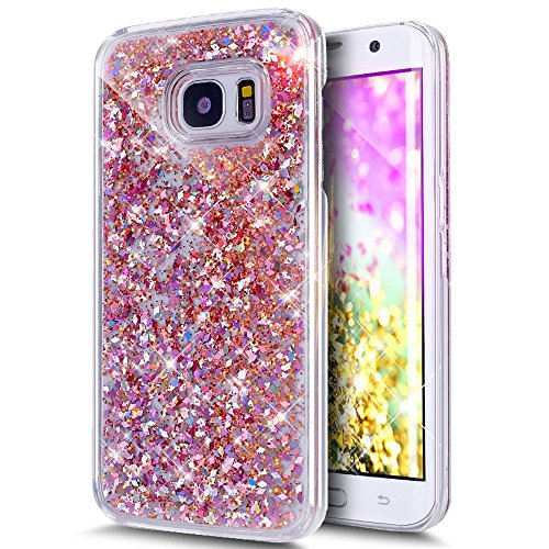 Price comparison product image Galaxy S7 Edge Case , S7 Edge Quicksand Star Liquid Case, Surpriseyou Twinkle Little Stars Moving sand Liquid Shiny Bling Glitter Sparkle Hard PC Case for Samsung Galaxy S7 Edge (Pink Diamonds)
