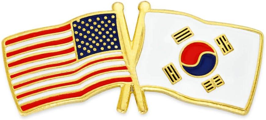 PinMart USA and South Korea Crossed Friendship Flag Enamel Lapel Pin