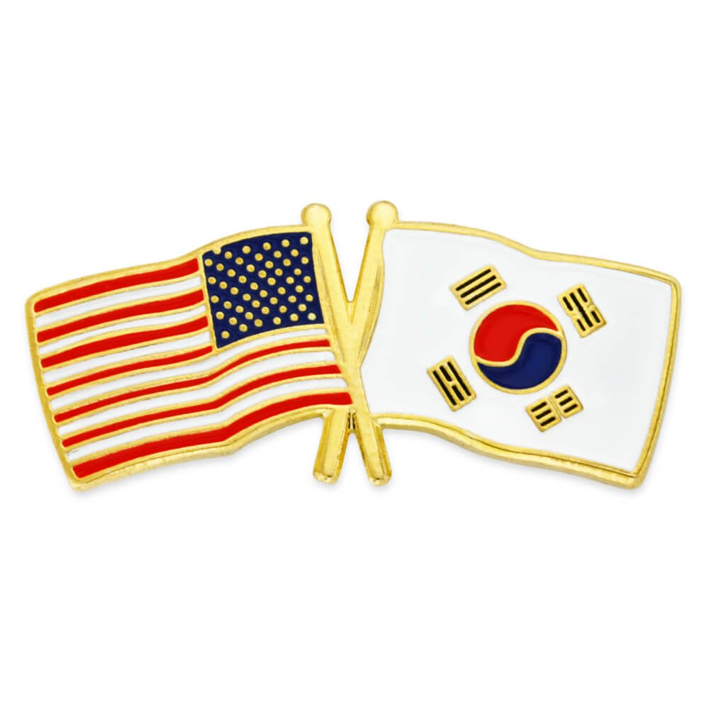 PinMart's USA and South Korea Crossed Friendship Flag Enamel Lapel Pin by PinMart