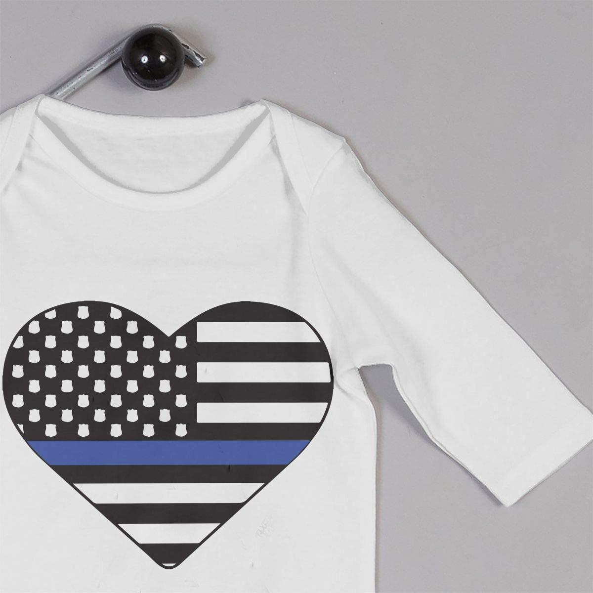 Mri-le1 Newborn Baby Jumpsuit Police Thin Blue Line Hear Infant Long Sleeve Romper Jumpsuit