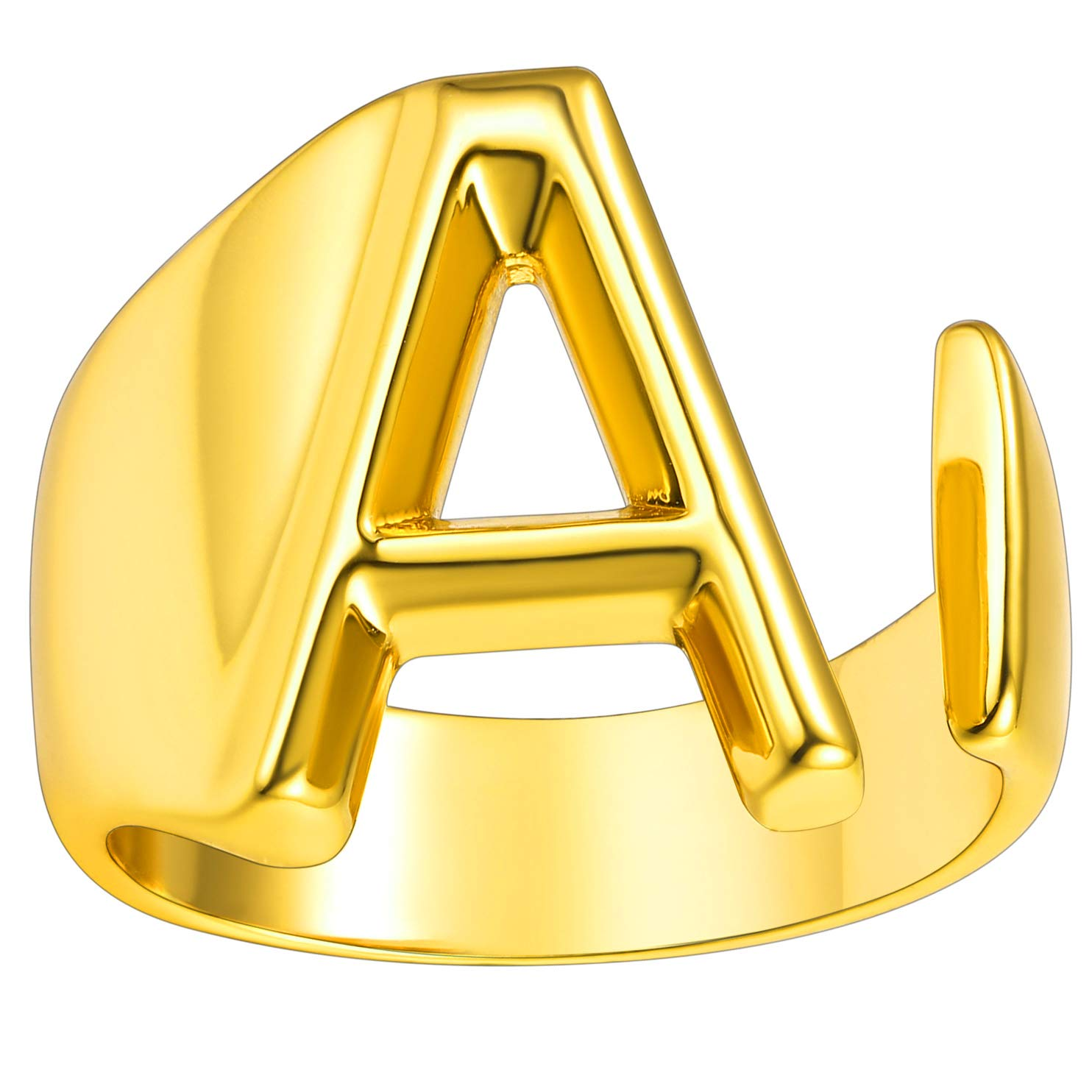 Personalized Gold Bold Initial Letter Open Ring Adjustable Women Statement Rings Party Women's Signet Ring 18K Gold Plated Open Alphabet Rings Letter A to Z