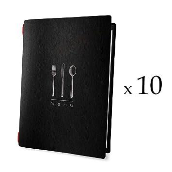 Lot 10 Protèges Menu negro elegante formato A4 1 Insert ...