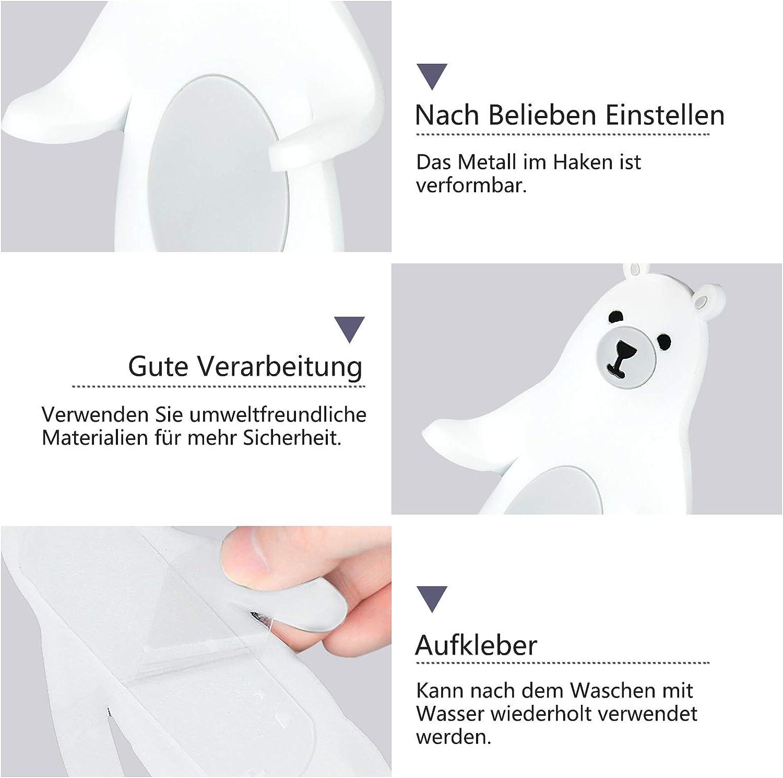 Zuf/älliger Stil Whchiy 3 St/ück Tier Handtuchhaken Selbstklebend Kinder klebehaken K/üche Badezimmer Wandhaken Ohne Bohren