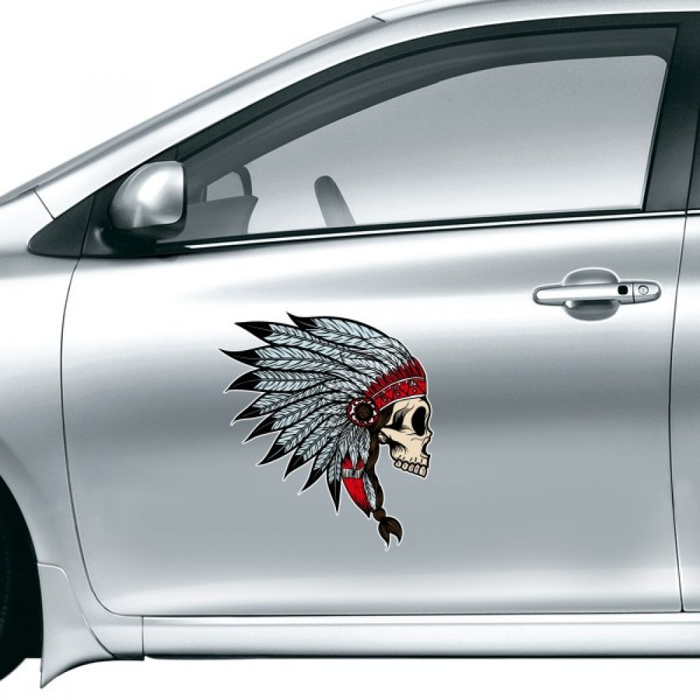 Amazon com ameican us indian flavor skull and peacock feather sketch car sticker on car styling decal motorcycle stickers for car accessories home