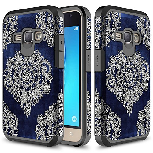 Galaxy J1 2016 Case, Galaxy Amp 2 Case, TownShop Moroccan Flora Design Hard Impact Dual Layer Shockproof Bumper Case For Samsung Galaxy J1 (2016) / Galaxy Amp 2 / Galaxy Express 3