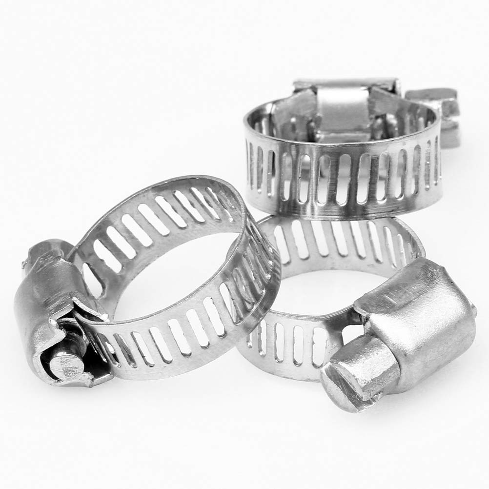pengxiaomei 30 Pack Hose Clips Adjustable 10-38mm Range Worm Drive Clamps Stainless Steel Hose Clamp Assortment 6 Size