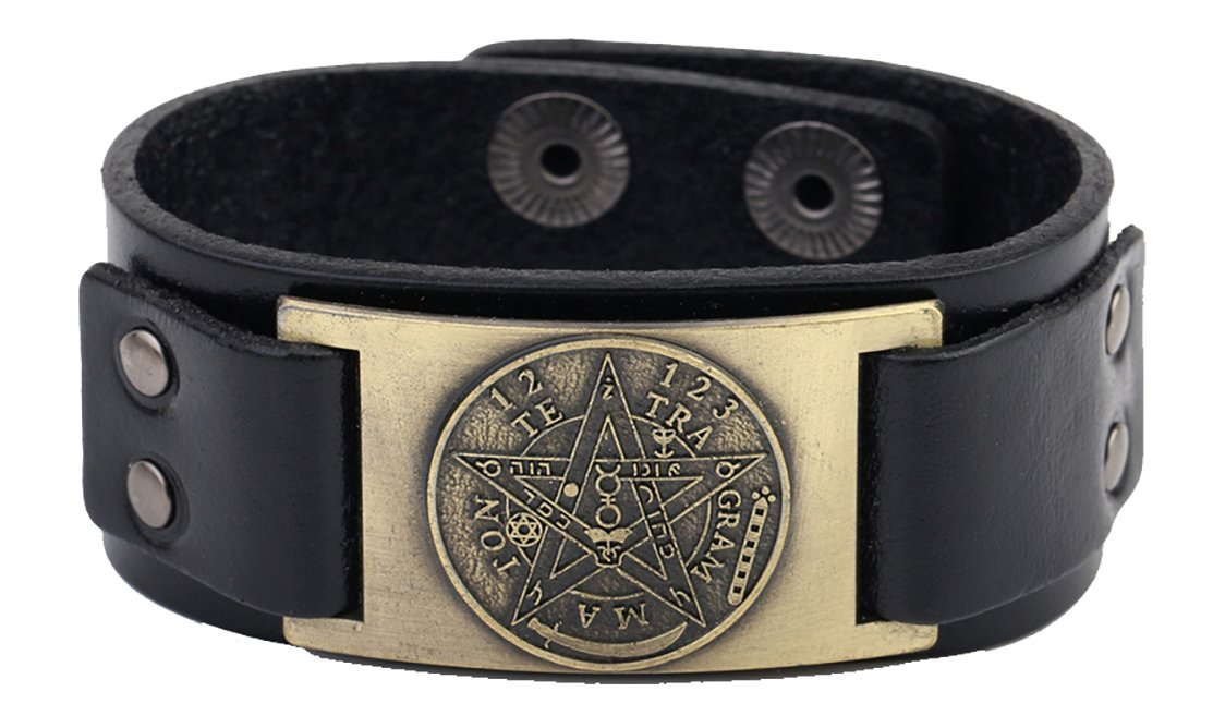 Lemegeton Pagan Hermetic Tetragrammaton Pentagram Metal Craft Connector Cuff Bracelet Men Women (black antique bronze)