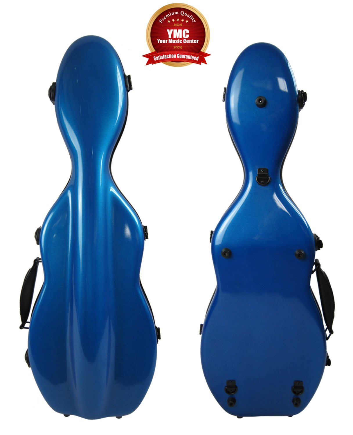 Cello-Shaped Violin Case 4/4, Fiberglass-Blue Vio Music C908